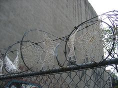 Crochet Spiders Webs on Razor Wire New York installation 'Art in odd places' by Crystal Gregory.    crystalgregory.org