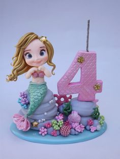 Mini topo circo no Little Mermaid Cakes, Mermaid Birthday Cakes, Little Mermaid Birthday, Little Mermaid Parties, Birthday Cake Girls, Sea Cakes, Fondant Animals, Fondant Figures, Cute Cakes