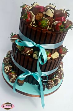 chocolate, 2 tier, kit kat, thorntons, cake, round, strawberries, strawberry, chocolate covered strawberry, baby blue, kit kat cake, luxury, artisan, birthday, celebration, lady, girl, chocoholic, man, tlcb, that little cake boutique