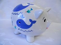 Piggy banks personalized piggy banks whales by ThePiggyBankShop