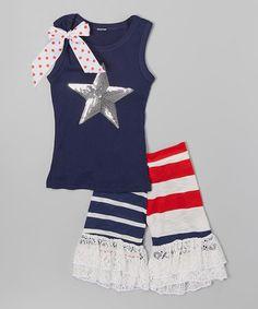 Look at this #zulilyfind! Navy Silver Star Tank & Ruffle Shorts - Infant, Toddler & Girls by Ruby and Rosie #zulilyfinds