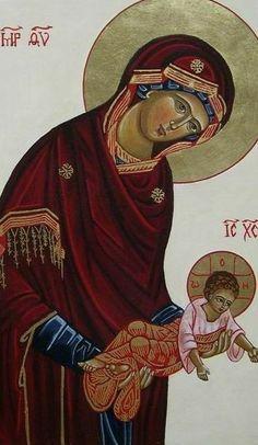 Byzantine Icons, Byzantine Art, Greek Icons, Church Icon, Christian Artwork, Praying The Rosary, Mary And Jesus, Orthodox Christianity, Orthodox Icons