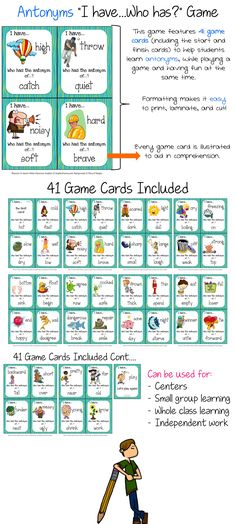 Antonyms I Have, Who Has Printable Cards - 41 game cards! $