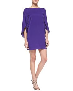 T8XT6 Milly Butterfly-Sleeve Stretch-Silk Dress