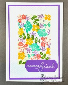 These cards are made by stamping images from the Lovely You set through stencils cut with dies. #nancysniftynotes