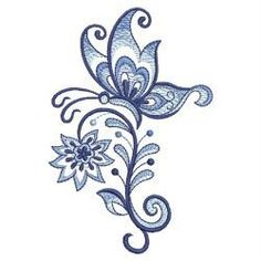 Blue Jacobean Floral with butterflies -- a beautiful machine embroidery collection