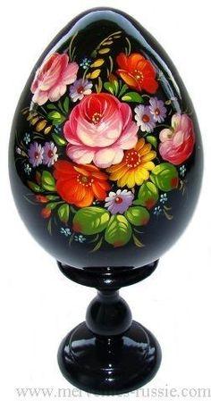 Oeuf decore peint, Oeuf en bois Collection Russe Artisanat Russe cadeau Pâques                                                                                                                                                                                 Plus