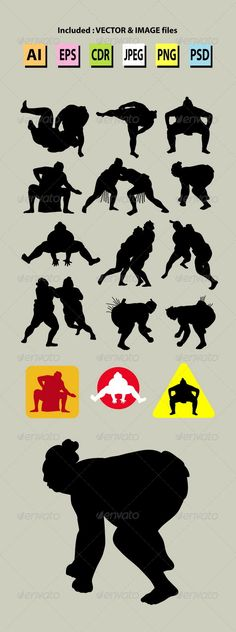 Sumo Silhouettes  #GraphicRiver         Japanese sport sumo silhouettes. Nice and smooth vector. Good use for your symbol, logo, sticker design, or any design you want. Easy to use, edit, or change color.  	 ZIP included : AI CS, EPS8, CDR coreldraw (vector files = you can use any size you want without loss resolution), JPEG high resolution, PNG transparent without background, and PSD photoshop file.     Created: 15October13 GraphicsFilesIncluded: PhotoshopPSD #TransparentPNG
