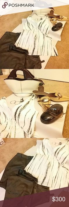 Springtime Bundle head to toe Twisted tank bannana republic size small green satin drawstring pants size 8 prada suede koten heels size 39.5 gucci sunnies silver hoops and silver ring and leather and wood mini bqg made and purchased in boutique in italy BR Prada Express Gucci  Other