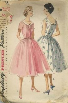 An original ca. 1956 Simplicity Pattern 1618.  Junior Misses' and Misses' One-Piece Dress: Pretty as a cool, summer fashion or as a party dress, both views have a gathered skirt and low rounded neckline outlined with a collar. Dainty pin tucks detail bodice front, each side of the buttoned front band. Dress may short sleeves or be sleeveless.