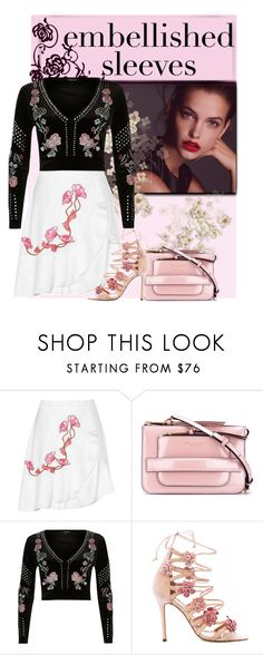 """""""embroidery embellished"""" by rvazquez ❤ liked on Polyvore featuring Carven, Marc Jacobs, River Island, Marchesa, floral, velvet and embellishedsleeve"""