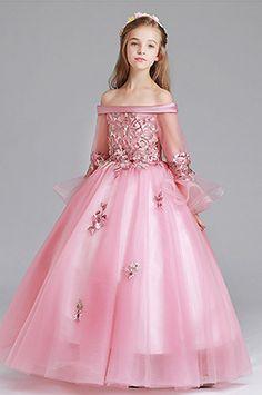 Edressit off shoulder long flower girl dress Pink Ball Dresses, Grad Dresses Long, Dresses Kids Girl, Flower Girl Dresses, Prom Dresses, Formal Dresses, Handmade Dresses, Unique Dresses, Green Dress