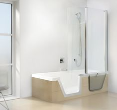 Step-In Pure: Bath solutions: Products: Duscholux Rustic Cabin Bathroom, Cabin Bathrooms, Step In Bathtub, Small Bathroom With Tub, Drain Cover, Bathroom Renos, Building A House, Pure Products, Design