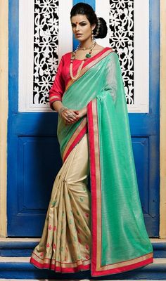The party starts the moment you arrive in this green and beige color shade bhagalpuri silk half n half sari. The lace and stones work appears chic and best for any function. Upon request we can make round front/back neck and short 6 inches sleeves regular saree blouse also. #LatestFabulousShadesOfSaree