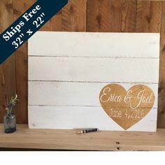 Wedding Guest Book Alternative - Wedding  Decor Signs Rustic - Wedding Signage - Personalized Wedding Sign - Pallet Sign - Guestbook by Girlinair on Etsy https://www.etsy.com/listing/266118758/wedding-guest-book-alternative-wedding