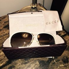 Gucci sunglasses Almost new Gucci aviator sunglasses,worn once for an hour in my sons soccer game,very sleek lines and looks so classy,sold out style,made in Italy by Gucci. Great deal! Gucci Accessories Sunglasses