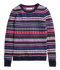 Dark blue & hot pink Fair-Isle sweater with long sleeves & alpaca wool content. | Warm in H&M