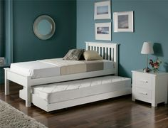 We are really excited by the launch of the new New Denver white Guest bed. Perfect for guests rooms and children's bedrooms we are sure that the Denver will become one of our best selling models. Finished in a contemporary white finish and manufactured from high quality pine the Denver guest bed is a highly practical and versatile bed frame. For ease of use the under bed simply rolls under the main bed on easy glide castors. When in use the underbed pulls out and raises up on spring ass...
