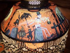 Vintage Halloween Tole Lamp by Artist Black Cat's Frolics Hand Painted Sculpted   eBay