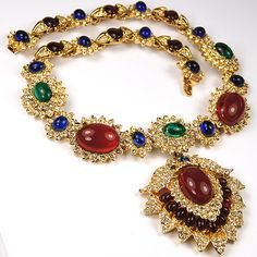 Vintage Kenneth Lane Gold Ruby Emerald and Sapphire Jackie Onassis Pendant Necklace