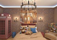 Дизайн интерьера детской комнаты  с покрывалом из жаккардовой ткани и чехлами для подушек.