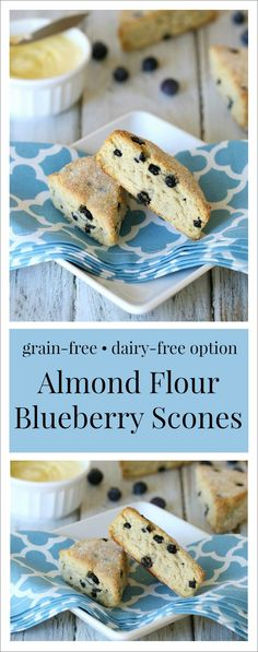 Almond Flour Blueberry Scones {Grain-Free, Dairy-Free Option}. A healthy scone recipe that is perfect for breakfast! All clean eating ingredients are used for this healthy breakfast recipe. Pin now to make later.