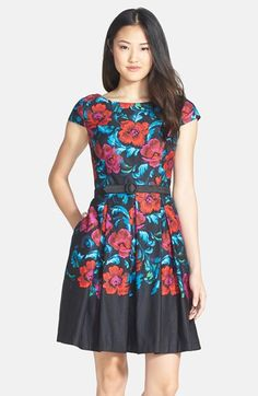 Eliza J Floral Print Pleat Fit & Flare Dress (Regular & Petite) - dress for pear bodyshape #pearbody