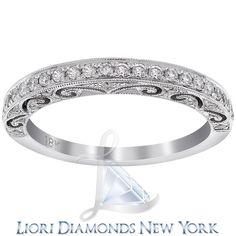 0.45 Carat Art Deco Design Wedding Anniversary Band 18k White Gold Vintage Style