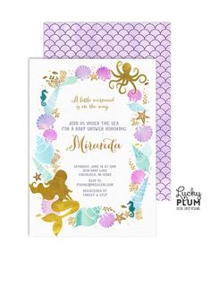 Join us under the sea. Gold foil mermaid surrounded by octopus, fishes, coral, shells, starfish seahorse and scallops in lilac, lavender, teal, mint and turquoise colors. Perfect for your little mermaid party! Splish Splash! Wave back page included **Please note this design has elements that are designed to look metallic, but no actual metallic ink or foil will be printed on this product H O W I T W O R K S ------------------------------ •• This listing is for a fully customized, 5X7…