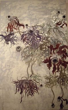 Anemone- Chisako Fukuyama, Japanese Paper, Silver Foil, Pigment,Gulue http://chisako-fukuyama.jimdo.com/works/japanese-style-paintings/