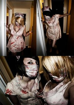 Use surgical mask instead of full face mask? Silent Hill Nurses by vicki roach, via Flickr