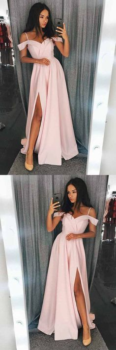 A-Line Cold Shoulder Pink Satin Prom/Evening Dress with Split A-line kalte Schulter rosa Satin Prom / Abendkleid mit Split Pink Prom Dresses, Trendy Dresses, Ball Dresses, Cheap Dresses, Dresses For Teens, Elegant Dresses, Cute Dresses, Casual Dresses, Fashion Dresses