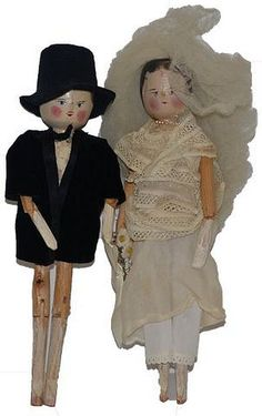 Old Doll Set Wood Carved Pegged Jointed Dolls in Old Wedding Attire.