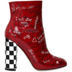 Dolce & Gabbana Women 105mm Graffiti Leather Ankle Boots