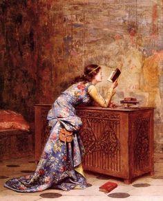 Cativada, 1875 Adolphe Alexandre Lesrel, ( França, 1839-1929) óleo sobre tela  40,6 x 32,4cm