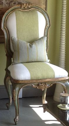 "French Chair Painted Distressed Green: The lightweight linen and subtle tonal shifts of Delave make a bold statement when offset by 9"" wide cream stripes"