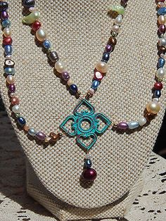2 strand Freshwater Pearls & Hand-Patina'd Diamond Pendant Beaded Necklace Set