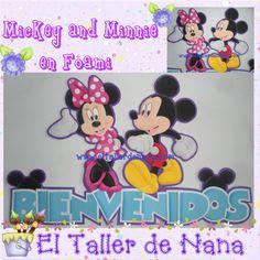 Banner de Bienvenida con Mickey and Minnie en foami