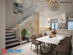 Mê mẩn trước mẫu nội thất nhà 1 trệt 1 lầu sân thượng đẹp Modern Small House Design, Small House Interior Design, Home Garden Design, Minimalist House Design, Staircase In Living Room, Minimalist Living Room Furniture, Indian Home Design, Room Partition Designs, Stair Decor
