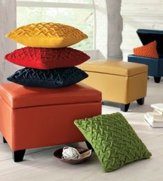 Not only comfortable as an ottoman, but handy storage space inside conceals clutter or keeps a throw close at hand.