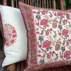 Set Of 2 Block Print Cushion Covers in a gorgeous vintage floral print by Sundara Home Decor. Each piece is printed by hand using ancient block printing techniques passed down through generations by artisans in India. This type of print was favorited by 17th century royals who used them in abundance. They look great mixed with other prints and will instantly brighten up any room. Visit our Etsy shop for more unique and beautiful home accessories.