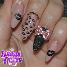 .@Drama Queen Nails | Pucker up! Same 2 polishes that I used for my nails - with a twist! Stamped w...