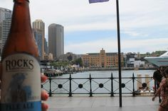 Cooling down before NYE. Rocks Pale Ale in Sydney Harbour.