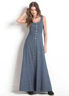 Trendy Denim Long Maxi Dress Fashion for Ladies – Designers Outfits Collection Denim Maxi Dress, Dress Skirt, Casual Dresses, Fashion Dresses, Summer Dresses, Vans Oldschool, Denim Fashion, Designer Dresses, Clothes For Women