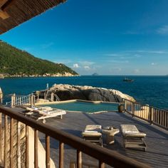 Six Senses Ninh Van Bay, Vietnam Set on a hidden bay in the East Vietnam Sea and accessible only by boat, this ultra-luxe resort takes privacy to a whole other level—which is necessary, considering you'll be spending all of your time outdoors, alternating between lazy dips in your private plunge pool and sunbathing on the dramatic rock formation into which it's been carved. Splurge on one of the five split-level Water Pool Villas, outfitted with large, sunset-facing pools that offer ocean…
