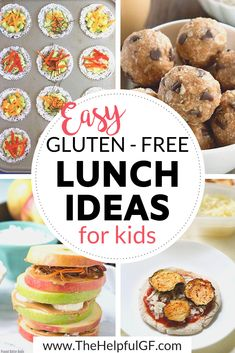 This is a list of 20 simple and easy gluten-free food and lunch ideas for kids on a gluten free diet including many dairy-free, nut free, and vegan options as well. These lunch and snack ideas are sim Free Kids Meals, Gluten Free Recipes For Kids, Gluten Free Lunches, Gluten Free Recipes For Lunch, Healthy Recipes, Lactose Free Diet, Cheap Clean Eating, Gluten Free Living, Nut Free