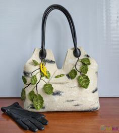 Bag handmade from felt White Berezka