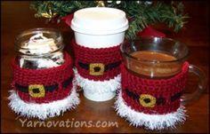 crochet santa jar or cup cozy and peppermint bark recipe