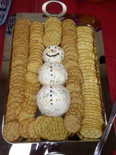 Christmas themed food snowman cheese ball