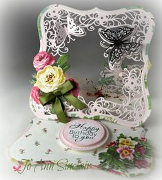 Easel card, made with Crafter`s Companion Butterfly Easel die set. Paper and flowers are from Anna Griffin. Fun Fold Cards, Folded Cards, Crafters Companion Cards, Gift Card Boxes, Shabby Chic Cards, Anna Griffin Cards, Card Making Kits, Easel Cards, Card Sketches